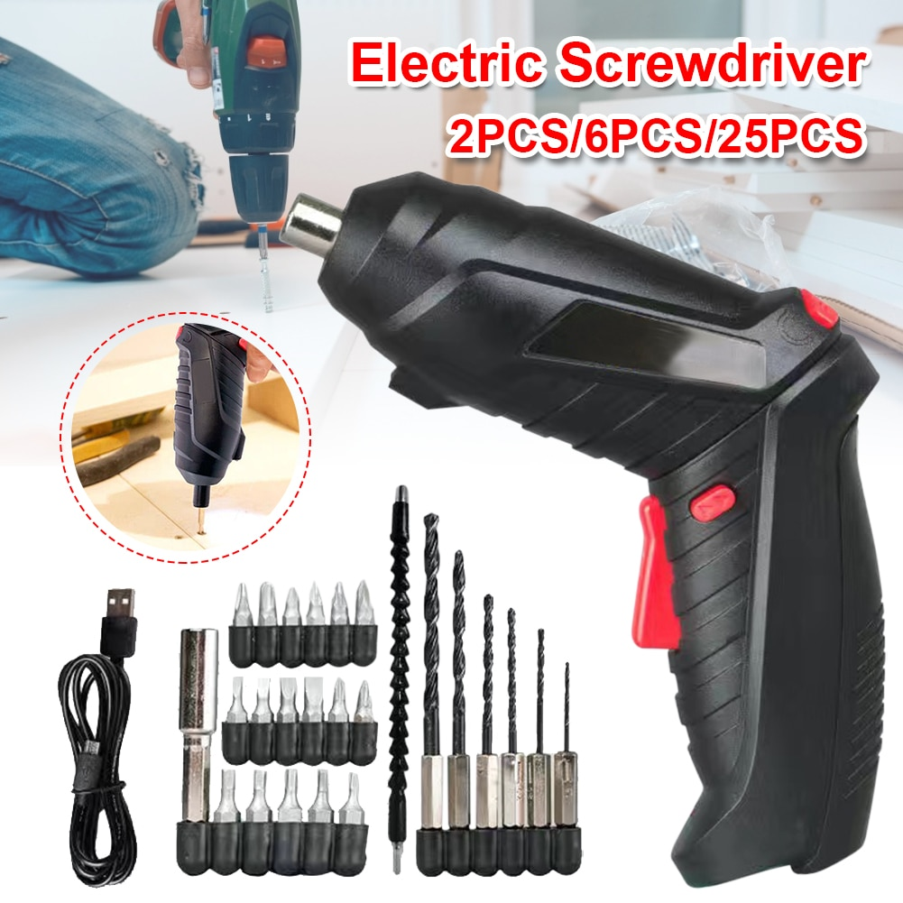electric screwdriver usb charging portable screw driver cordless power screwdriver drill magnetic screw driver repair set Portable Cordless Electric Screwdriver 1300mAh Rechargeable Battery Forward Reverse Adjustable Household Screw Driver Power Tool
