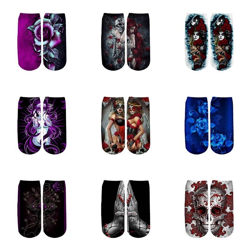 PLstar Cosmos funny Gothic Skull Socks Summer Fashion 3D Cotton Socks Colorful Warm Short Ankle Socks women socks high quality-1