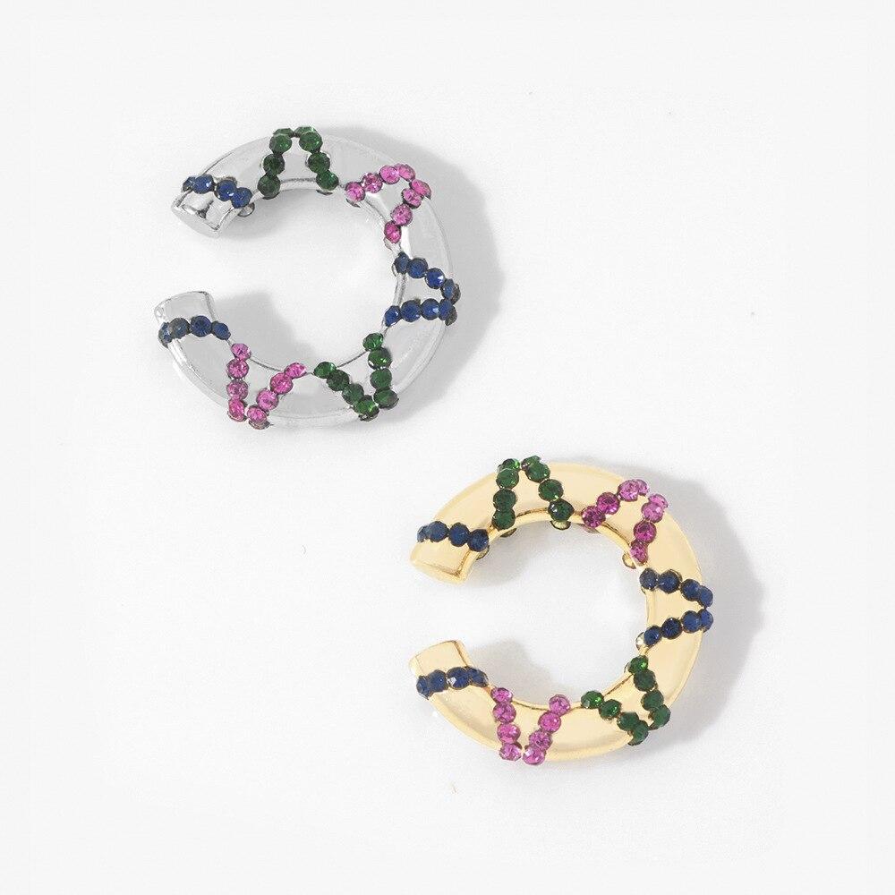 Pendientes de Clip de moda de verano para mujeres niñas pendientes simples Multicolor de diamantes de imitación Color dorado plata sin orificio de oreja Cip pendiente