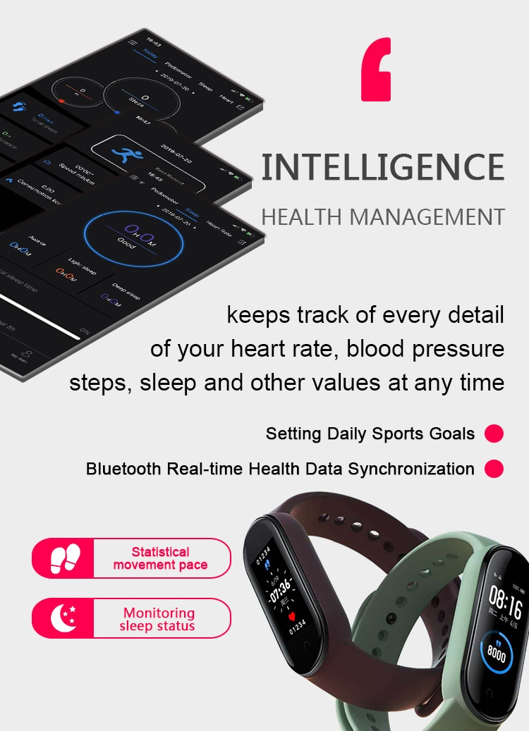 M5 Smart Band Men Women M5 Smart Watch Heart Rate Blood Pressure Sleep Monitor Pedometer Bluetooth Connection for IOS Android enlarge