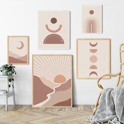 Boho abstrato paisagem pintura de terracota parede arte impressão cartaz imagem pintura decorativa sala de estar decoração para casa