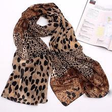Lady Shawl Silk Chiffon Scarves Leopard Print Shawl 20cm All-match Lady Soft Scarf Long Soft Wrap Wo