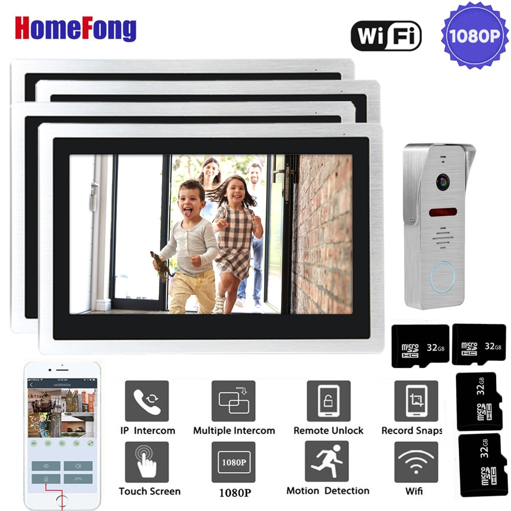 HomeFong WiFi Intercom Wireless Video Door Phone 10 inch Touch Screen Monitors 4 with 1080P Doorbell Camera Smart Phone Control