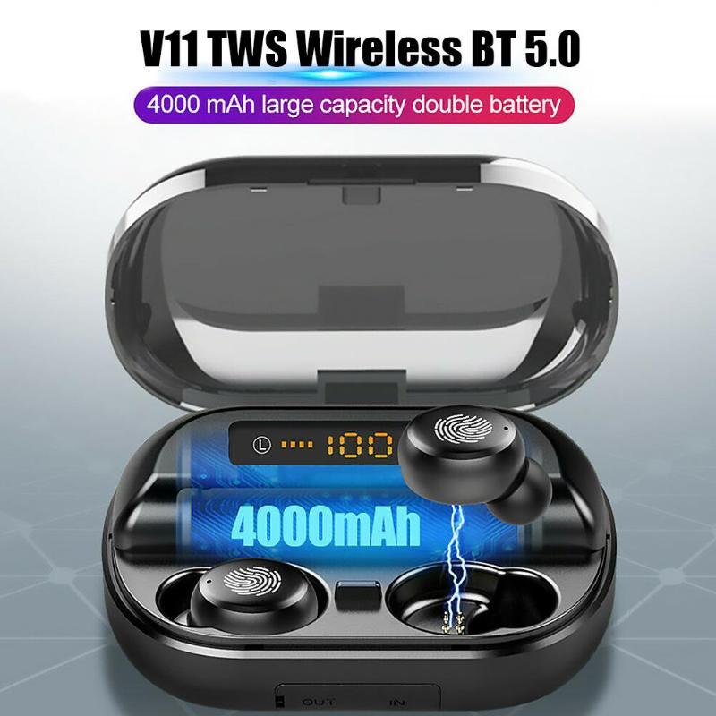V11 TWS بلوتوث 5.0 سماعة سماعة مزودة بميكروفون 4000mAh charing case HD ستيريو LED عرض صحيح اللاسلكية سماعة رياضية