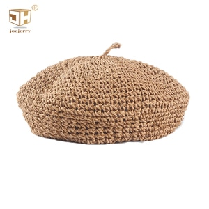 JOEJERRY Straw Beret Summer French Beret Hats for Women Artist Crochet Beret Cap Painters Hats