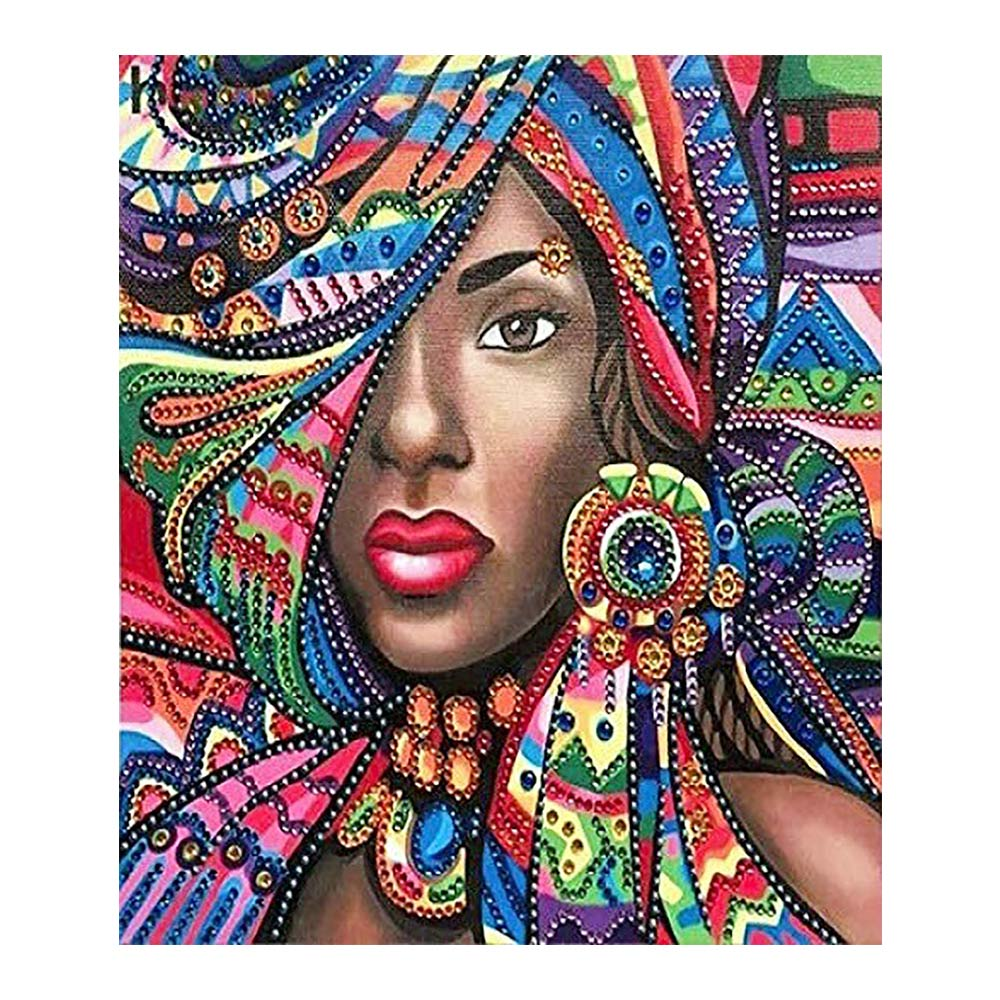 Mujer africana en ropa de color retrato para pintar con diamantes redondo taladro completo Nouveaute DIY mosaico bordado 5D punto de cruz