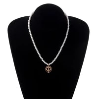 punk gothic harajuku pearl chain hollow heart shaped pendant retro cross choker necklace fashion bohemia jewelry for women girl