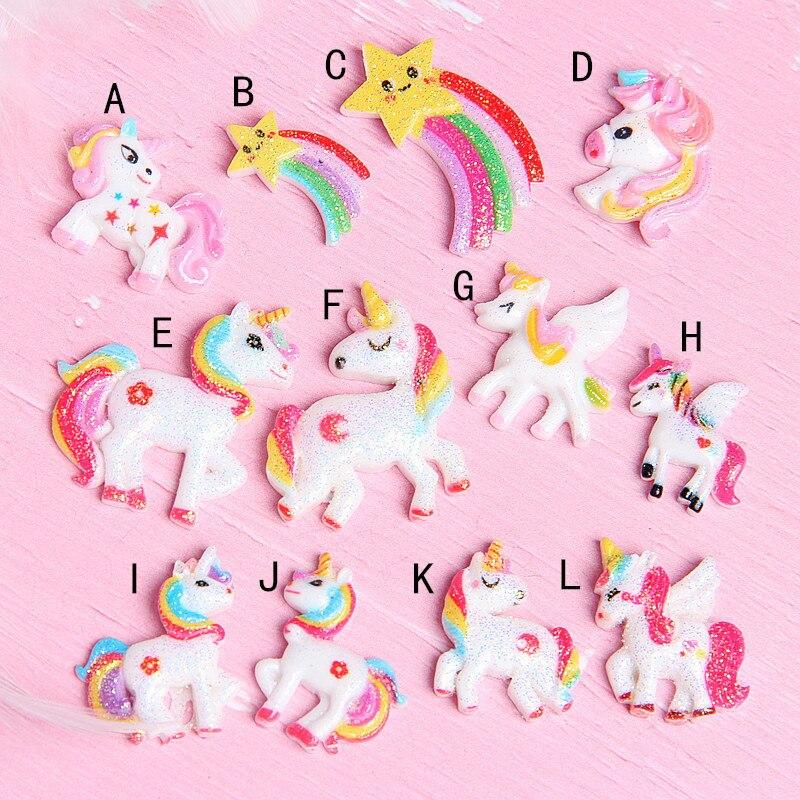 12 unids/bolsa de resina Mini Flash arco iris de unicornio juguete accesorios para Slime Super Light arcilla encantos DIY pegamento materiales cristal relleno de barro