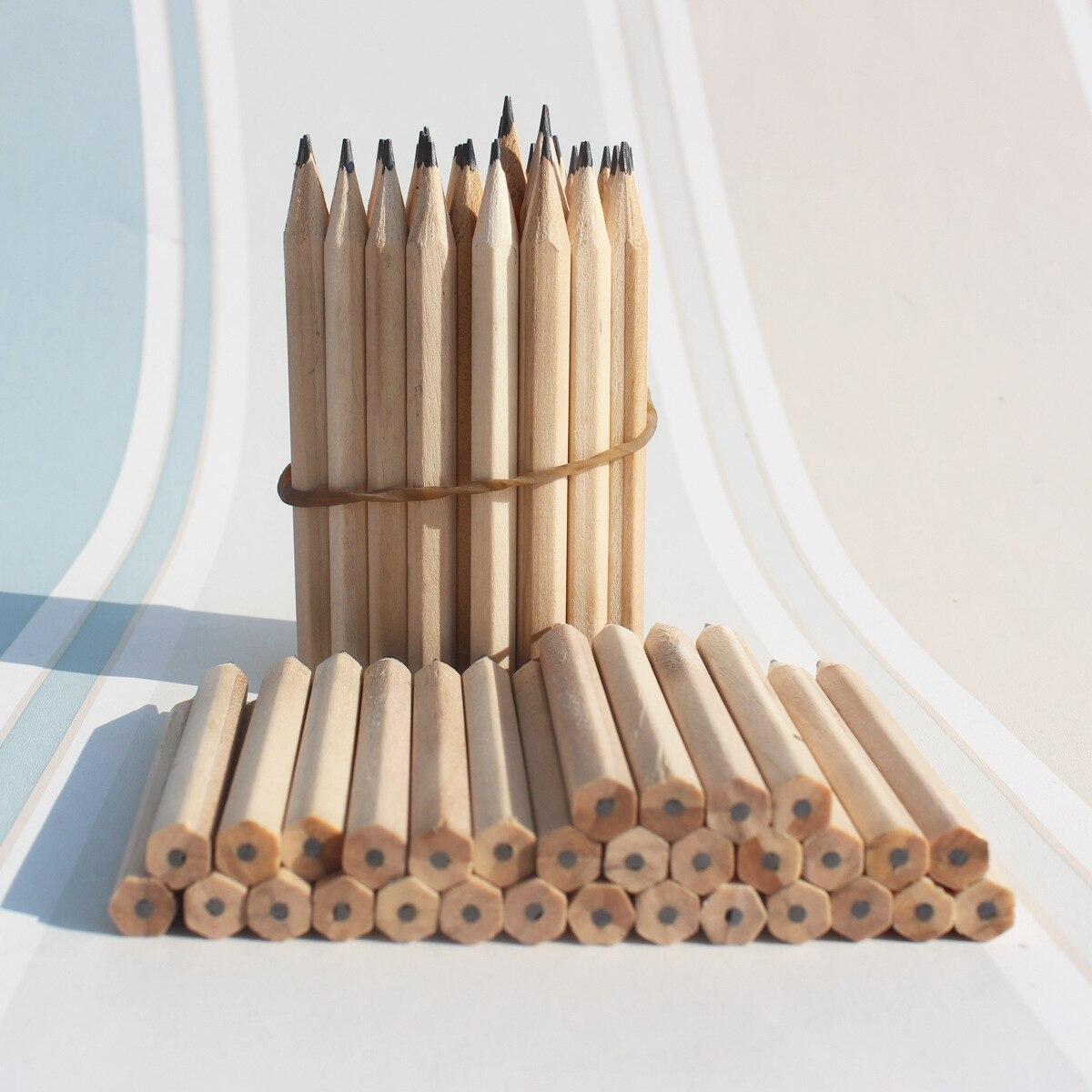 3,5 pulgadas 100 unids/lote HB lápiz de madera los estudiantes boceto lápiz papelería escuela artículos de respetuoso del medio ambiente de fábrica al por mayor