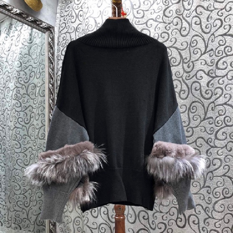 Turtleneck Sweaters 2020 Winter Warm Pullovers Women High Quality Fox Fur Patchwork Long Sleeve Knitted Sweaters Plus Size enlarge