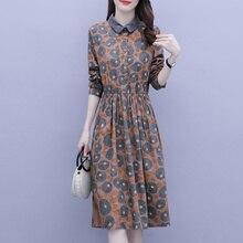 2021 Spring New Casual Long Party Summer Autumn Dress Elegant Loose Korean Fashion Printed Mid-Lengt