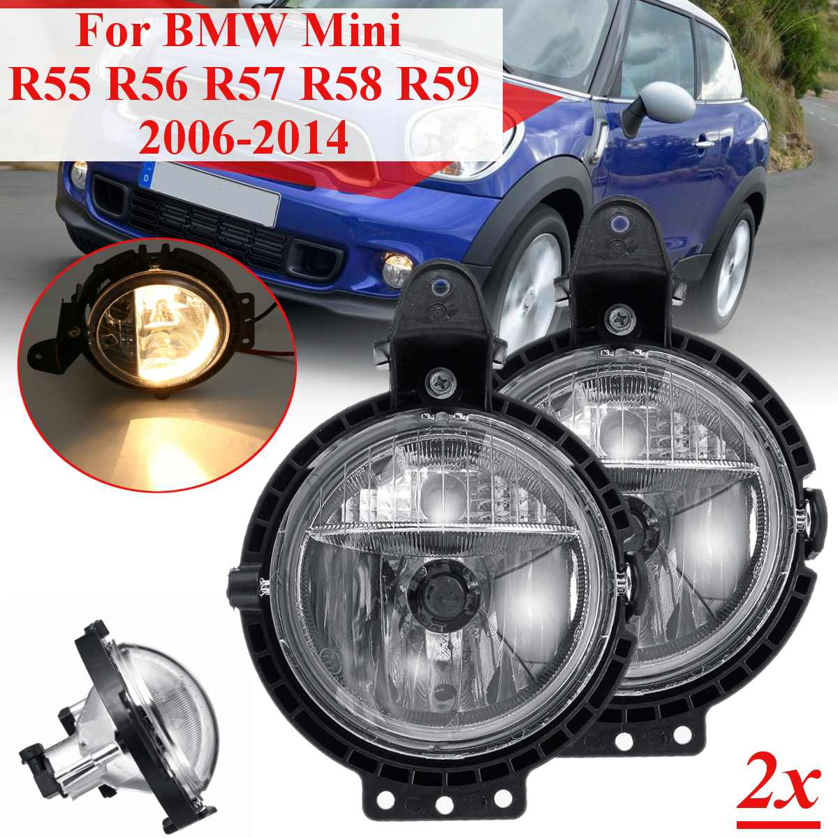 2pcs Car Fog Light For BMW Mini R55 R56 R57 R58 R59 Clubvan Clubman Cooper Roadster Countryman one Lamp With Bulb Driving Lamp