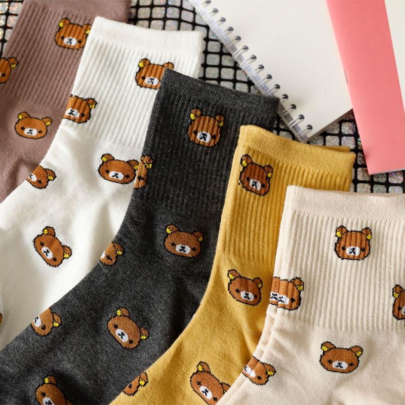1 زوج من الكرتون لطيف المرأة جوارب قطنية نقية لطيف وعصري الدب الجوارب خمسة ألوان من القطن الخالص الإناث الجوارب
