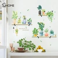 fresh plant shelf wall sticker for bedroom window door room decoration bonsai plane mural pastrol removable diy wallposter
