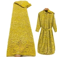 yellow african coil rope lace fabric high quality sequins french mesh gauze lace fashion clothing wedding sewing xy dmxw999