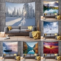 snow mountain scenery tapestry green forest beautiful dormitory decoration background cloth 3d decoration room tapestry