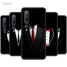 Cool Black Man Pak Wit Overhemd Tie Case Voor Xiaomi Mi Note 10 Jeugd 9 Se 9T A3 A2 8 Lite Poco F2 Pro Black Soft Phone Cover