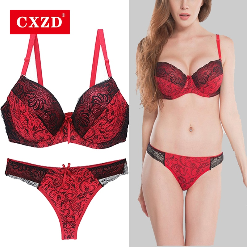 CXZD 2pcs/sets Push Up Bra Sets Women Seamless Embroidery Bralette underwire Breathable Underwear Lingerie Set