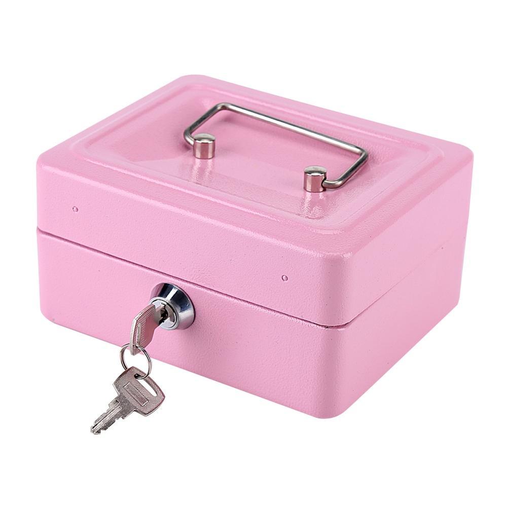 Кассовый аппарат для монет, кассовый ящик для хранения, Розовый Портативный стальной Блокируемый Сейф для наличных денег