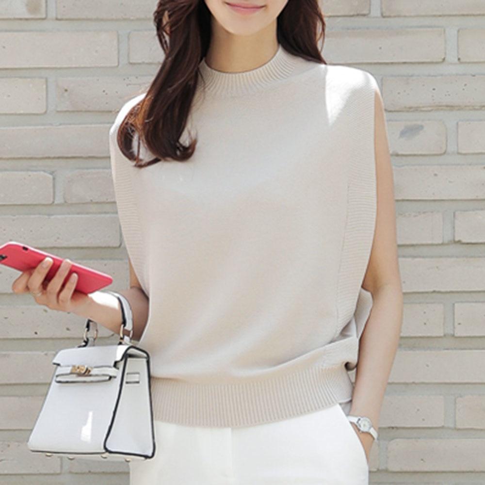 Women Sleeveless Knitted Tops Summer Elegant Office Ladies Loose Plain 2021 Japan Casual Female Fash