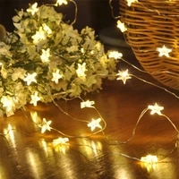 star string led decor lights battery operated fairy lights copper wire light string xmas garland home party wedding decoration