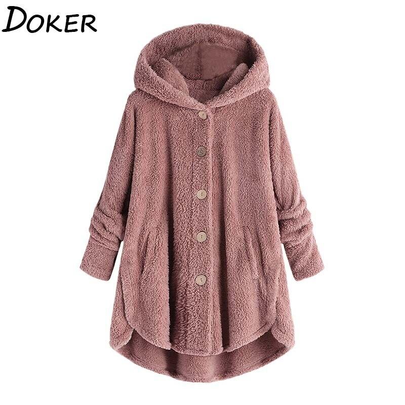 Faux Fur Coat Women Autumn Winter Warm Soft Fur Hooded Jacket Female Plush Overcoat Pocket Casual Oversized Teddy Outwear недорого