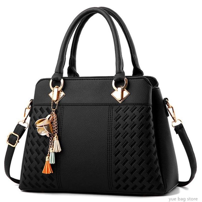 Fashion Women Handbags Tassel PU Leather Totes Bag Top-Handle Embroidery Crossbody Bag Shoulder Bag