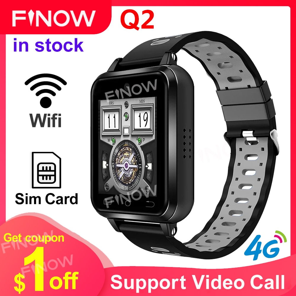 Finow Q2 GPS Wifi Smartwatch Q1Pro تحديث 4G الروبوت الذكية ووتش MTK6737 1GB/8GB Reloj Inteligente الهاتف سيم بطاقة للأطفال