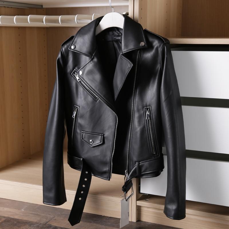 2020 Spring Autumn Pu Faux Leather Jacket Women White Black Zipper Slim Short Biker Jackets Coat Female Outwear With Sashes Tops enlarge