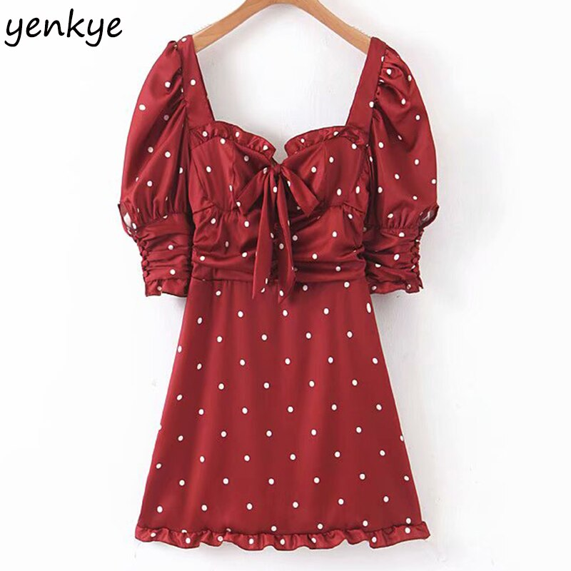 2019 Women Burgundy Polka Dot Sexy Party Dress Romantic Backless Puff Sleeve A-line  Mini Christmas Dress LJPZ9149