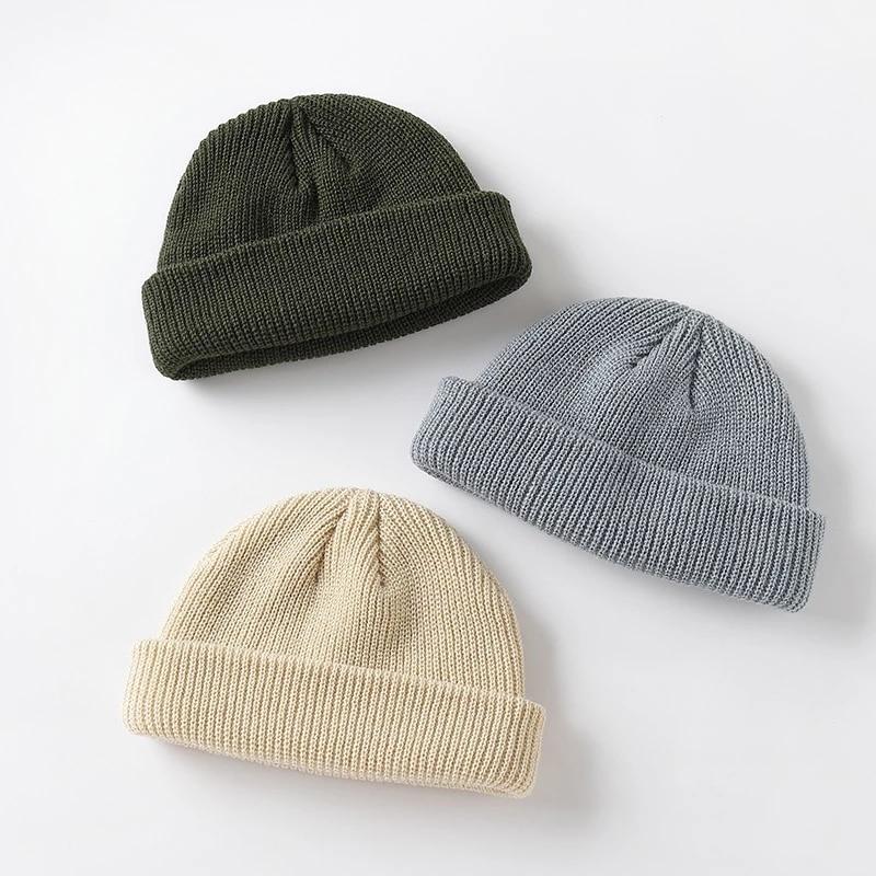 New Fashion Men's Beanie Winter Knit Hat Boy Skullcap Sailor Cap Cuffs Retro Navy Short Hat Solid Color Uni Autumn Warm Cap