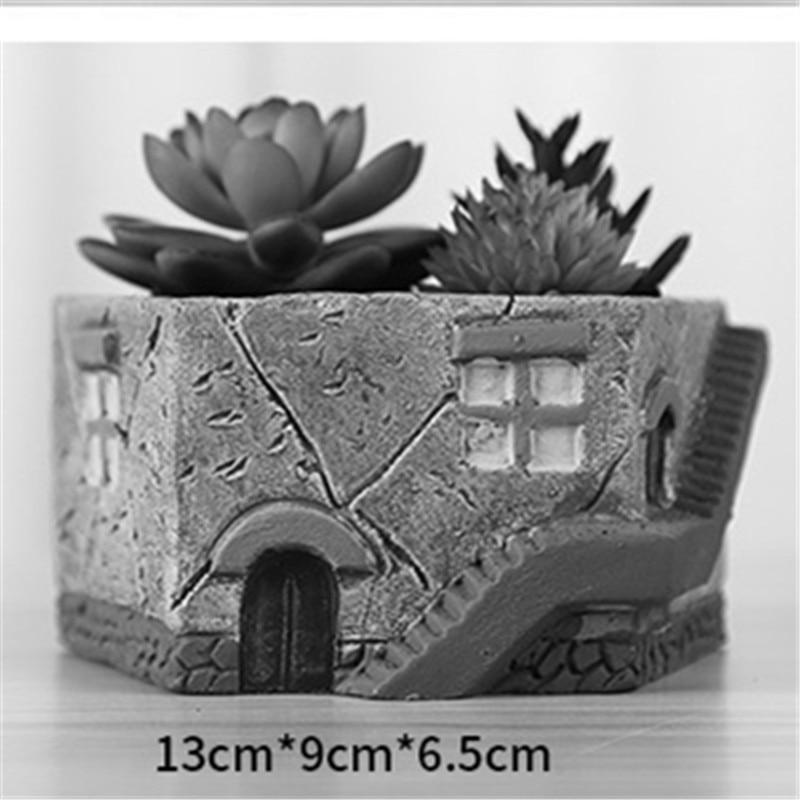 Handmade da Forma da Casa 3D Cactus Plantas Pot Fazendo o Molde de Cimento para Decoração de Casa Panela de Barro Moldes Plantador de Concreto Molde