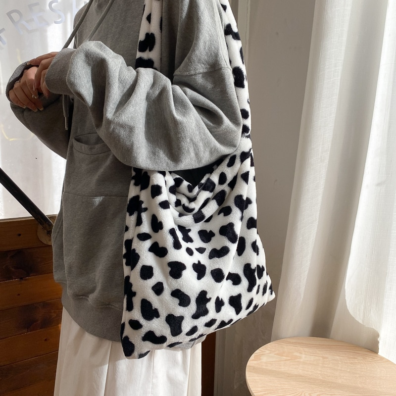 Padrão de Vaca Bolsa de Ombro Design Elegante Feminina Tote Bolsas Casuais Grande Capacidade Senhoras Simples Moda Mensageiro