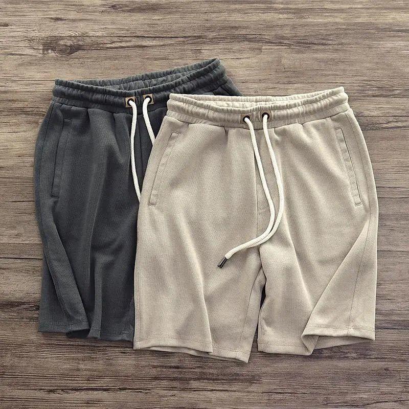 Новинка лета 2021 тяжелые трикотажные японские Ретро Старые Красивые шорты мужские повседневные свободные универсальные шорты с резинкой на...