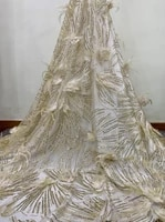 in stock high quality 1 yard african lace fabric feather cheap nigerian voile lace fabric for wedding dress diy
