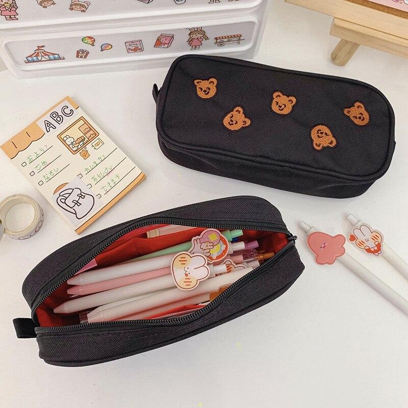 Cartuchera bordada con bonito Osito de estilo famoso INS de Corea del Sur, bolsa de almacenamiento de papelería, Porta lápices de gran capacidad