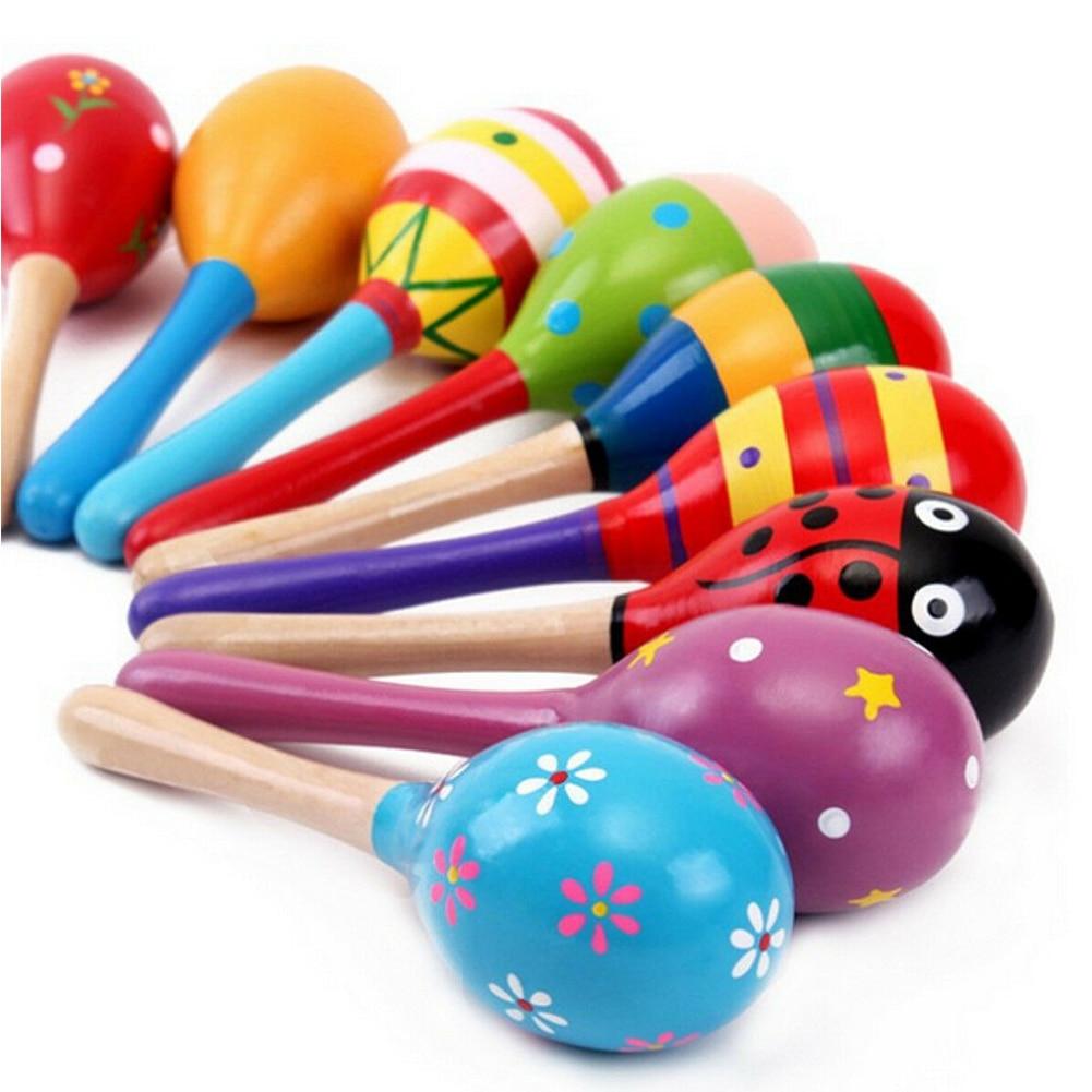 10 pçs engraçado não tóxico colorido chocalho de madeira presente rumba shakers maracas handbell instrumento brinquedo do bebê festa musical