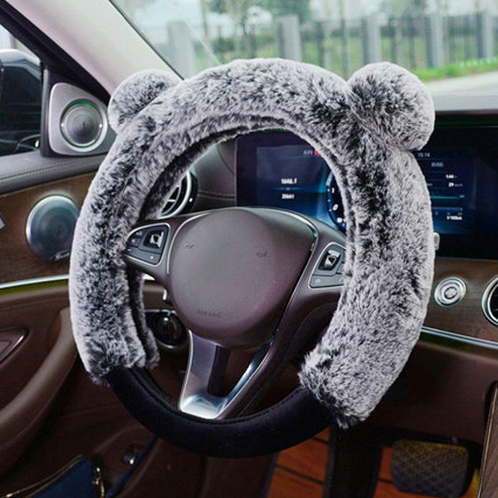 Winter Plush Fur Car Steering Wheel Cover Fluffy Soft Grab cute Styling Car Accessories
