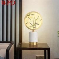 wpd modern table lamp led desk light brass luxury marble decorative for bedside bedroom living room office