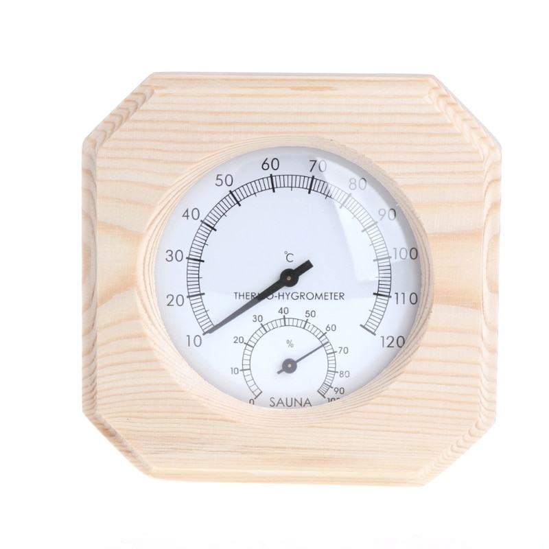 Higrómetro termómetro de madera para sala de Sauna higrotermógrafo instrumento de temperatura