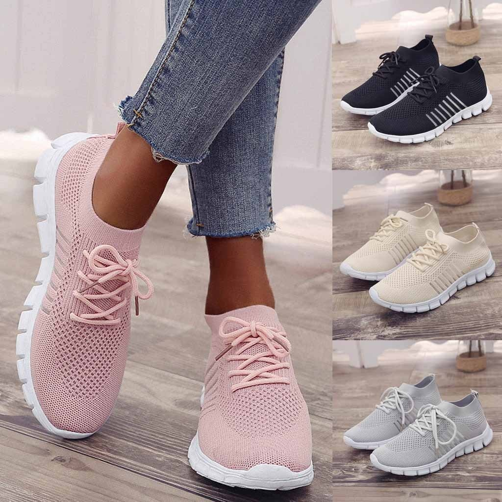 SAGACE Brand Top 2021 Women Girl Summer Spring Causal Pink Breathable Sneaker Women's Flying Weaving