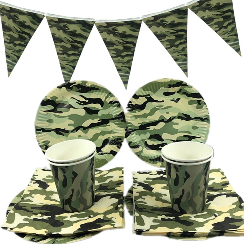 Camouflage Theme Party Army Green Decorations Tableware Paper Cup Plate Napkins Banners Baby Shower