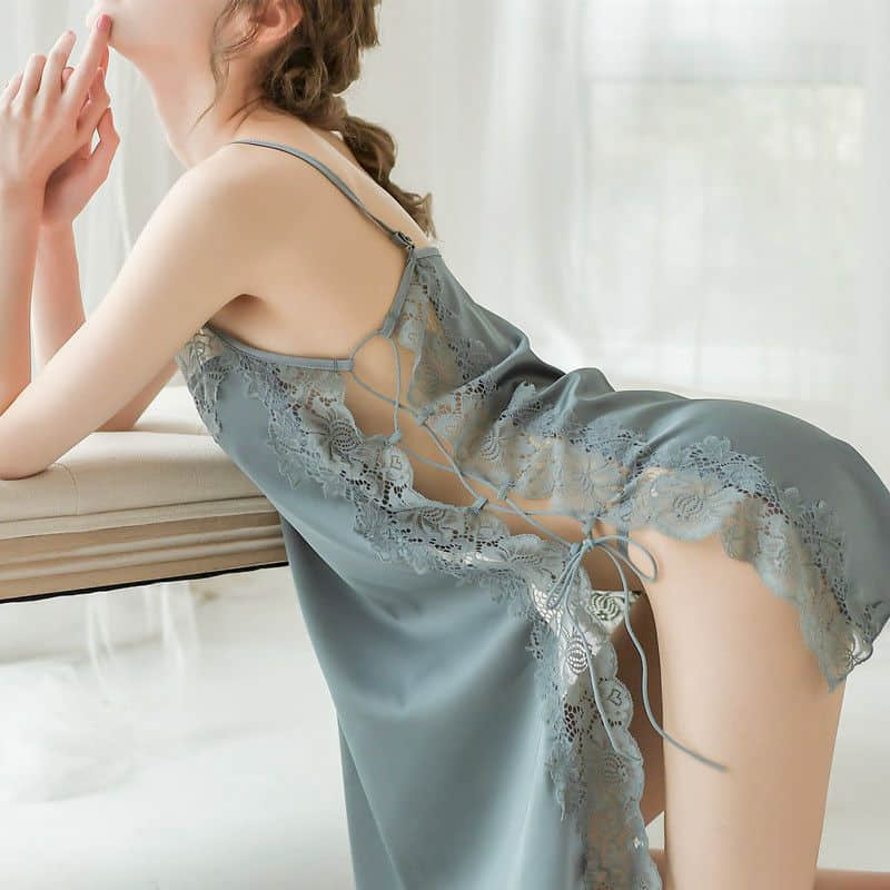 Ice Silk Lingerie Erotic Sexy Dress Pajamas Women Summer Nightdresses Temptation Lace Suspenders Private Sex Passion