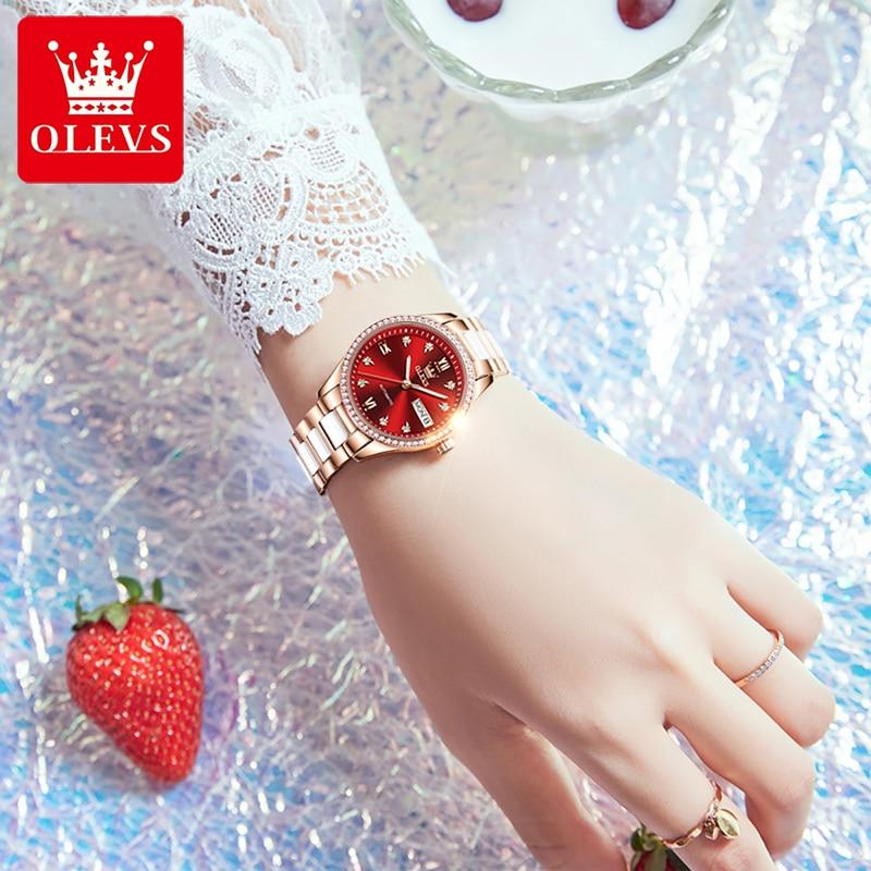 OLEVS New Fashion Red Trendy Dial Automatic Mechanical Watch Ladies Luxury Diamond Calendar Luminous Waterproof Women Watch 6637 enlarge