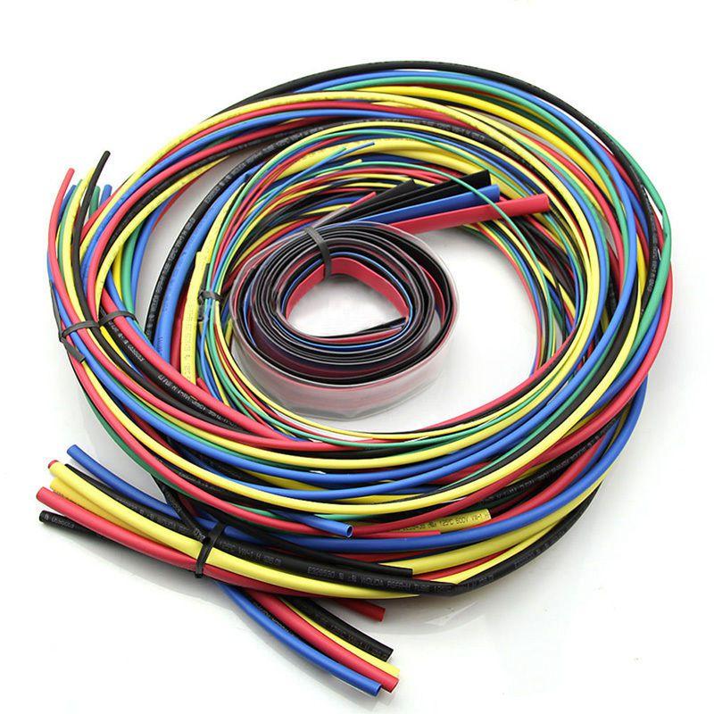 55 M/Kit Tubo termorretráctil 11 tamaños tubo colorido Cable de manguito 6 colores