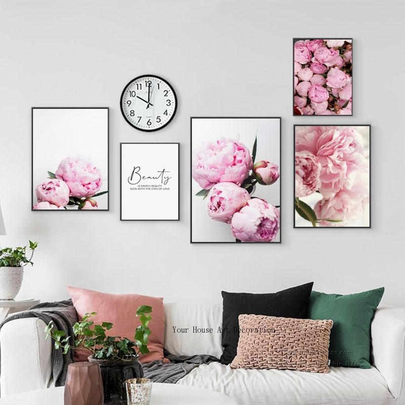 Pintura de lona nórdica decoración del hogar elegante flor peonía frase póster e impresión pared imagen modular artística decoración de la sala de estar