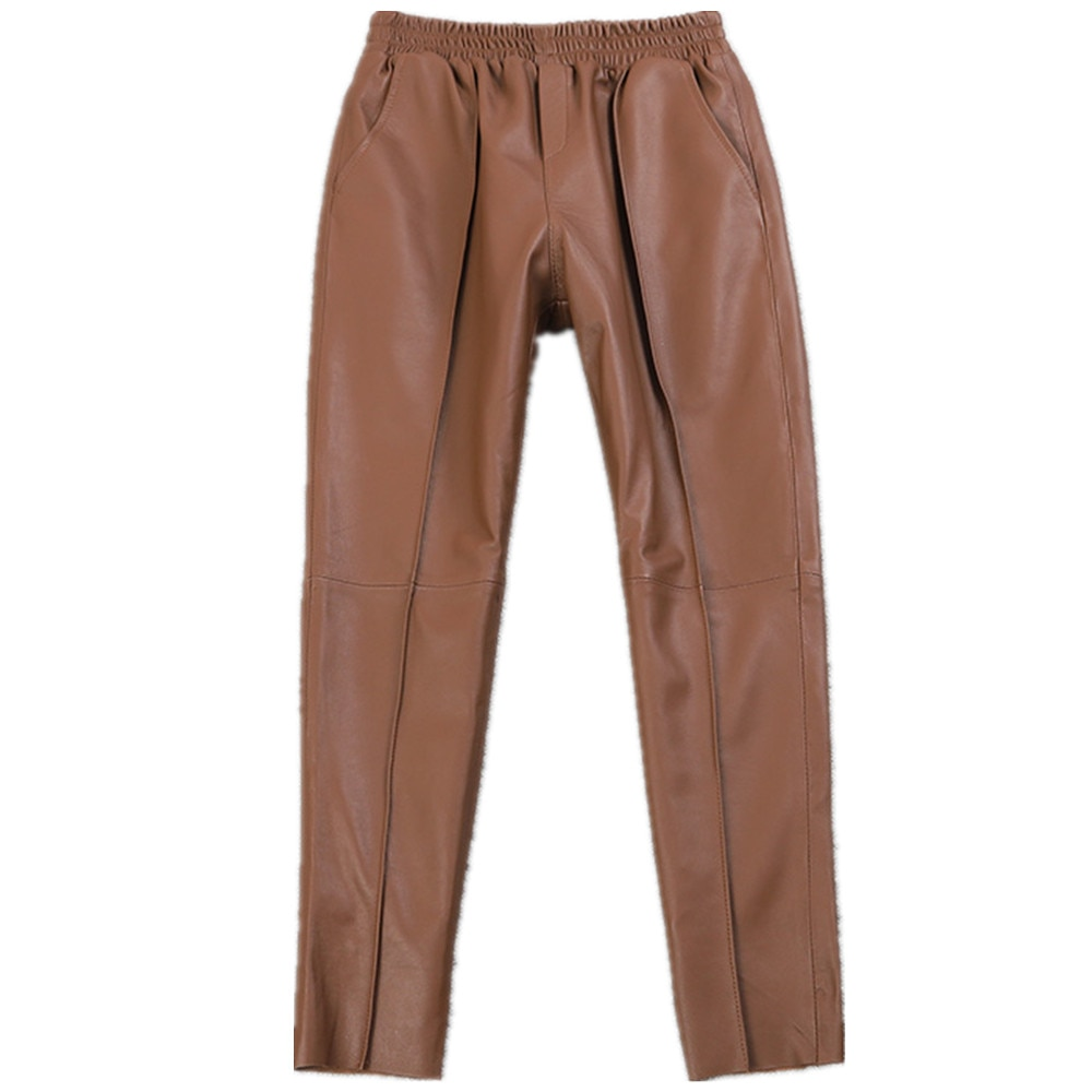 England Style Great Quality Ealstic Waist Real Sheep Leather Pants Spring Female High Waist Was Thin Pencil Leather Pant F1051