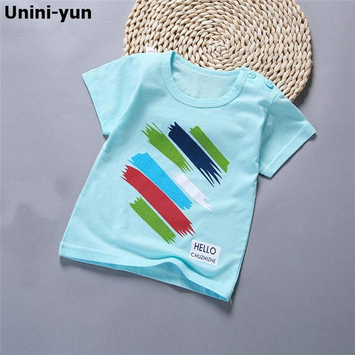 [Nuevo] 6 M-7 T bebé niño sólido T shrit niños 100% de algodón camisetas de manga corta niños Tops Camiseta deportiva de verano niñas