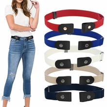 Fashion women's punk style buckle-free belt ladies jeans dress belt slim sports elastic no buckle be