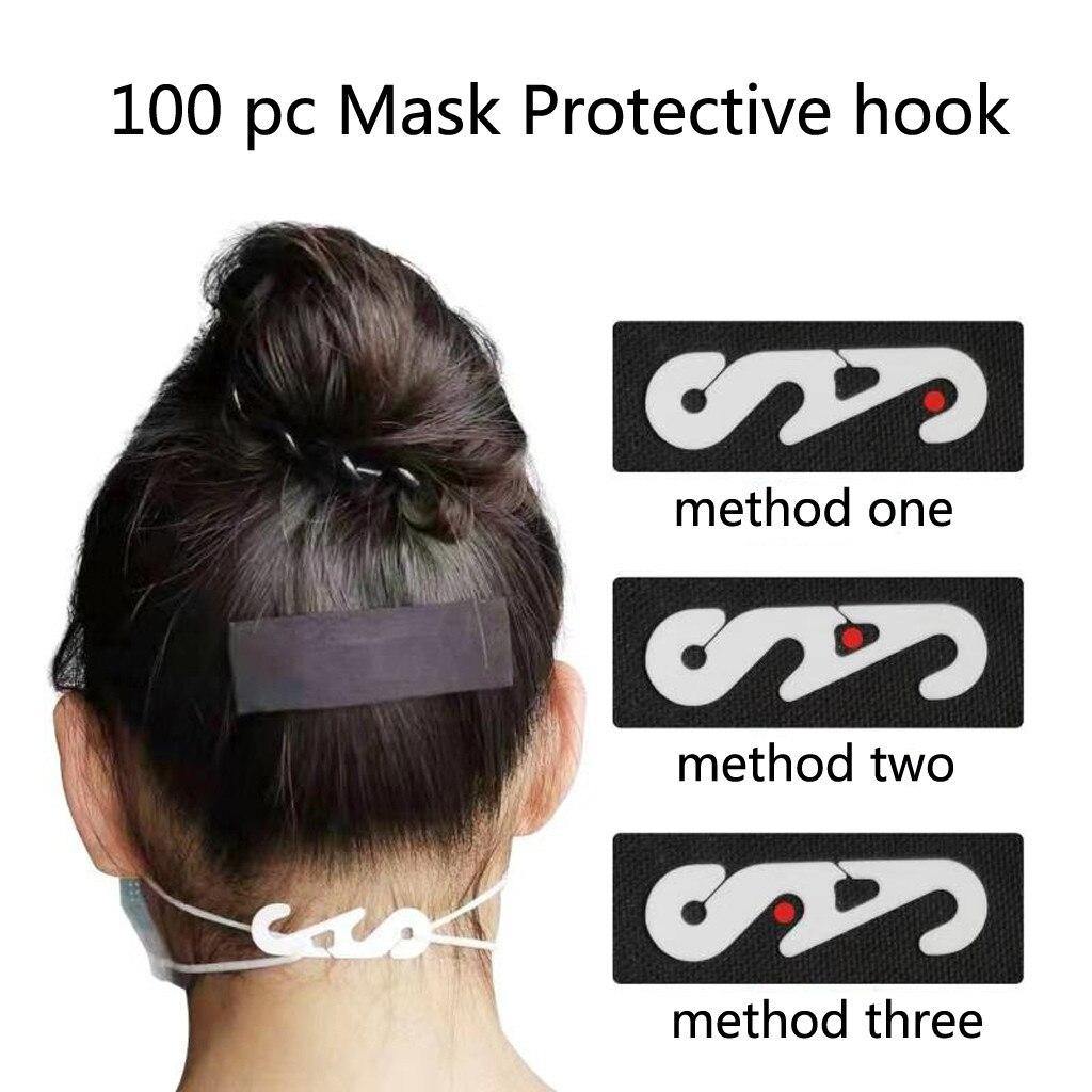 100Pcs Fourth Gear Adjustable Mask Buckle Anti-skid Drop Anti-Hole Ear Hook Adjuster Adjustment Fourth Gear Relieve Pain
